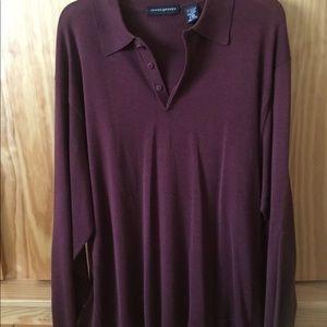 Jhane Barnes long sleeve silk polo shirt 2xl